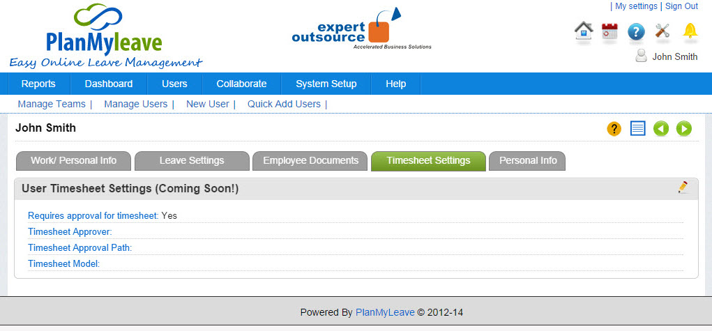 Employee Record view - Timesheet Settings