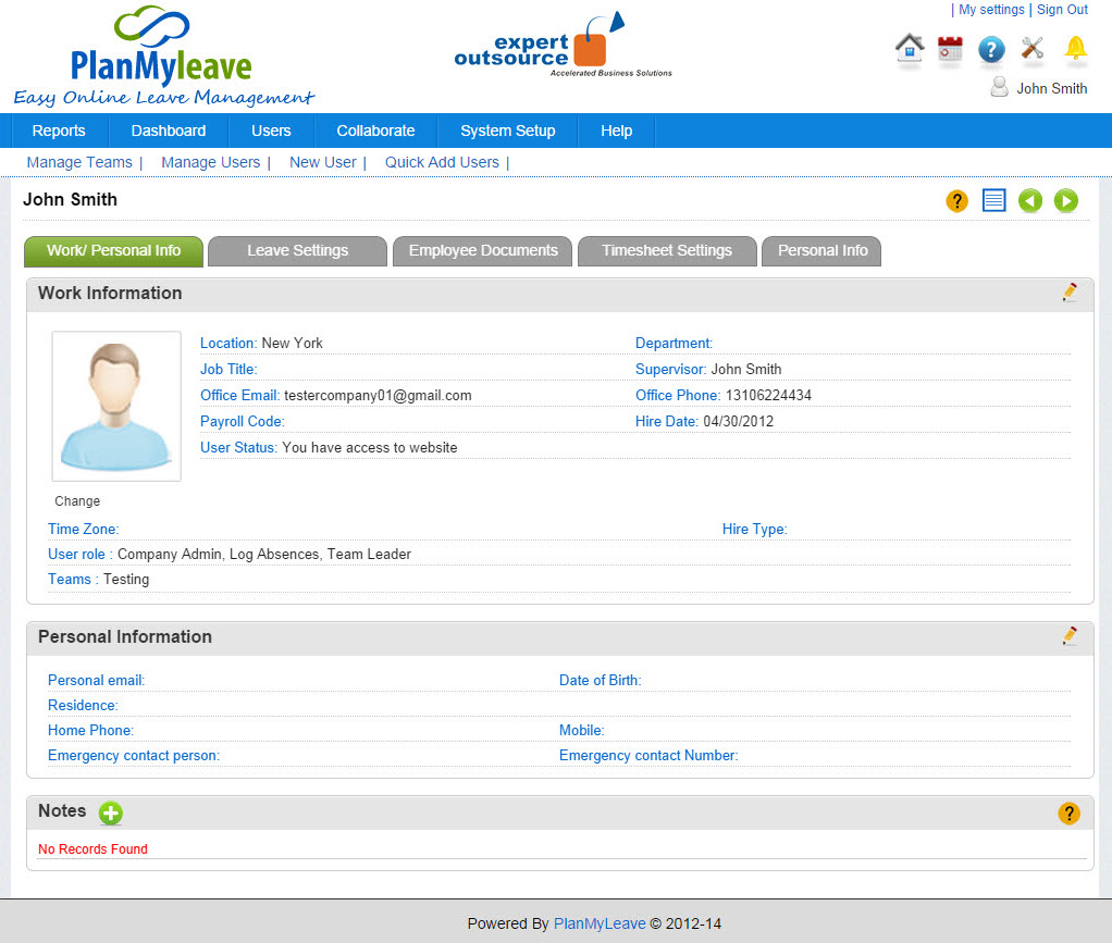 Employee Record view - Work - Personal Info