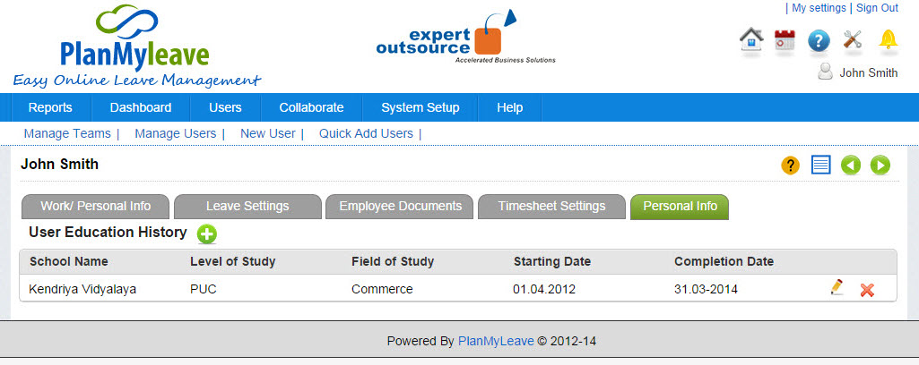Employee Record view - Personal info