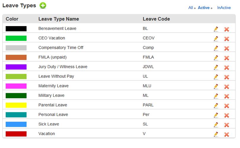 Leave Types List Screen