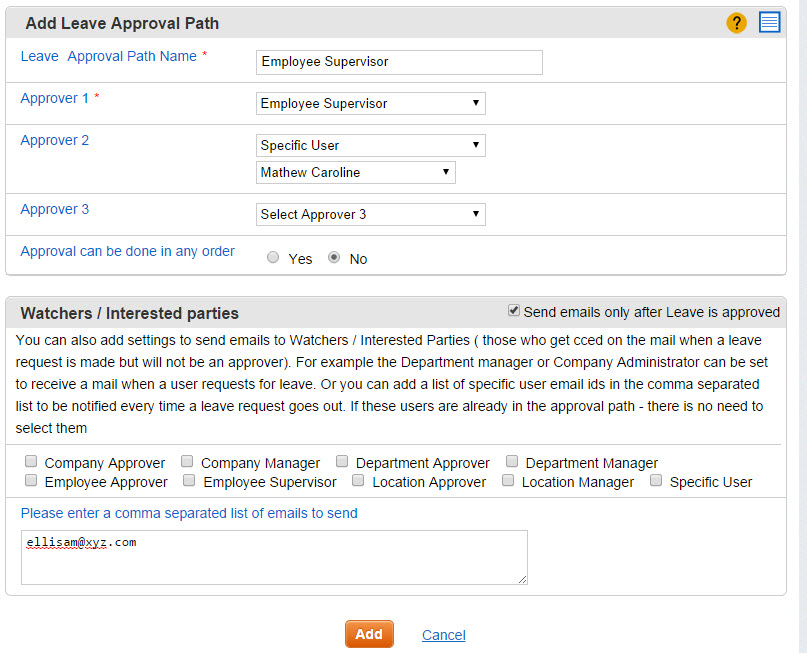 Add Leave Approval Path