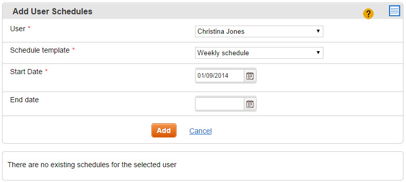 Add User Schedules