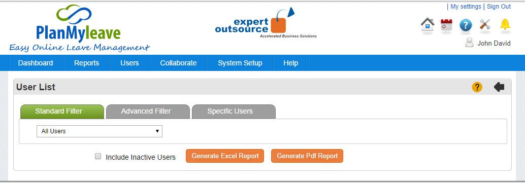 Users List Report - Standard Filter